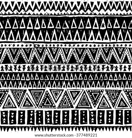 black and white tribal Navajo vector seamless pattern with doodle triangles. aztec abstract geometric print. ethnic hipster backdrop. Wallpaper, cloth design, fabric, paper, cover, textile. Hand drawn - stock vector