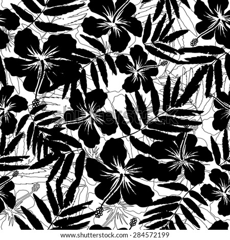 Black and white tropical flowers silhouettes vector seamless pattern - stock vector