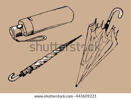 how to draw a closed umbrella
