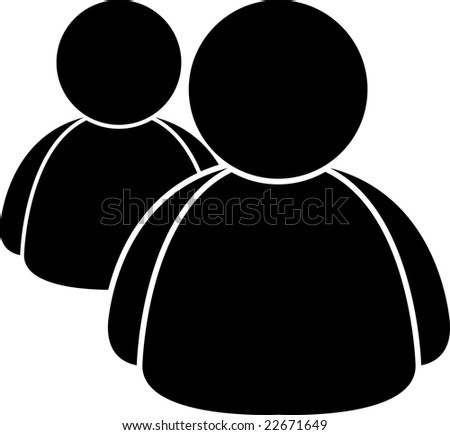 black and white users - stock vector