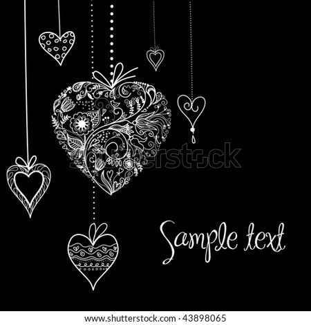 Black and White Valentine Heart shapes illustration. - stock vector