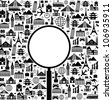 Black and white vector background with a trip with icons and place for your text - stock