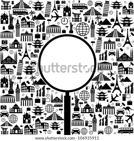 Black and white vector background with a trip with icons and place for your text - stock vector