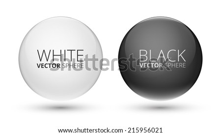 Black and White Vector Balls. Abstract Design with Glass Spheres - stock vector