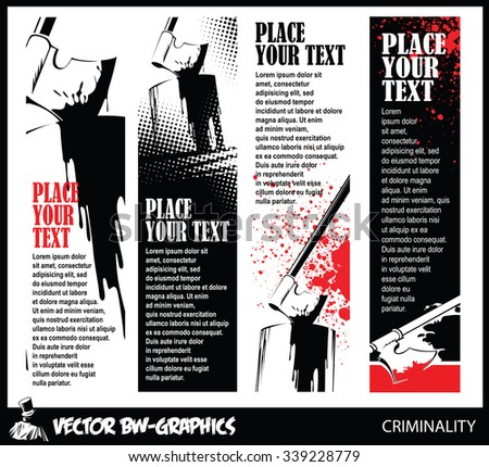 Black and white Vector banner. Axe of the executioner in the block. - stock vector