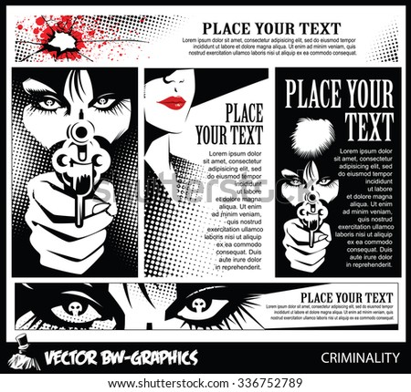 Black and white Vector banner. Girl with a gun. In the eyes of the skull. - stock vector