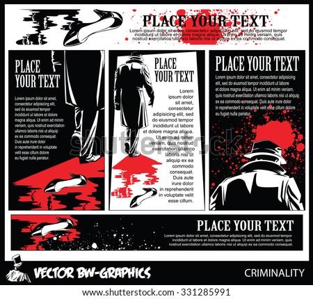 Black and white Vector banner. The killer leaves the scene of the crime - stock vector