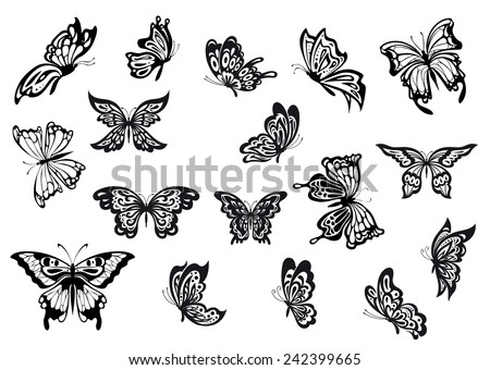 Black and white vector doodle sketch butterflies set with various shaped wings and in different flying positions - stock vector