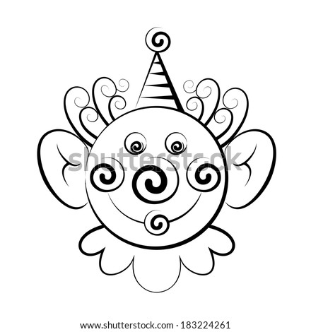 Black and white vector drawing of the head of the clown. Positive face of the man. - stock vector