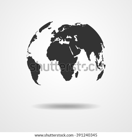 Black and white vector Earth globe isolated on white. Black simple scheme of the globe. Globe earth Icon Vector.  - stock vector