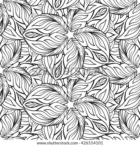 Black and white vector ethnic elements seamless pattern. - stock vector