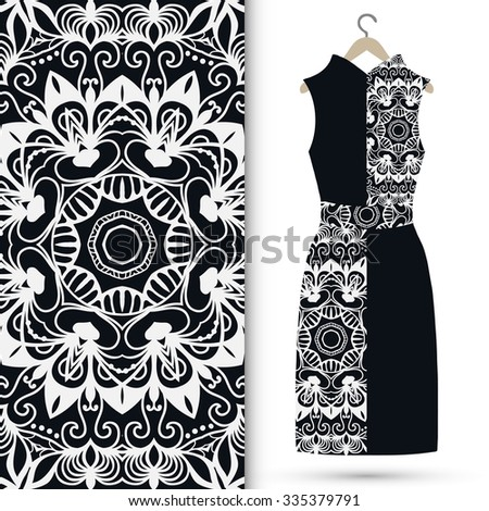 Black and white vector fashion illustration, women's dress on a hanger, hand drawn seamless floral geometric pattern, isolated elements for invitation card design, repeating fabric texture.  - stock vector