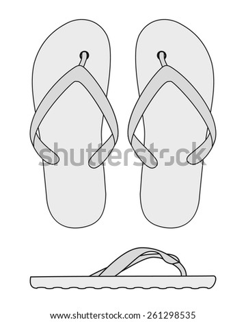 black and white vector flip flops  - stock vector