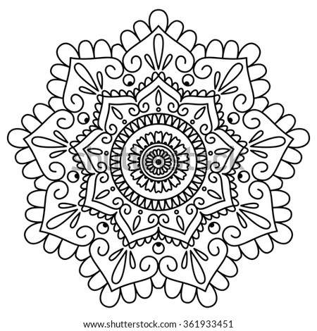 Black and white vector floral mandala. Ethnic decorative element. Beautiful flower for card, coloring book or design element. Hand drawn illustration.