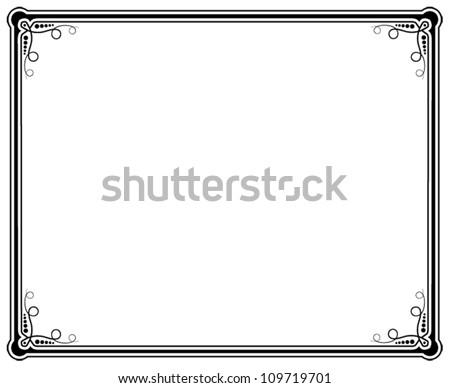 black and white vector frame - stock vector