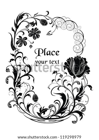 Black and white vector holiday background with poppy flowers - ready to place your art or text - stock vector