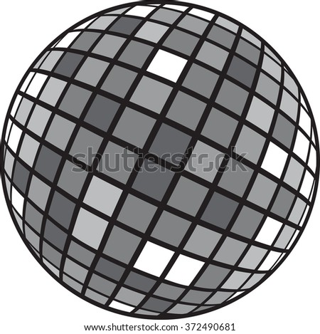 Black and white vector illustration: disco club mirror ball (glitter ball). File is easy to edit.