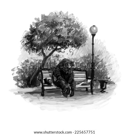 Black and white vector illustration. Homeless in the park on a bench. - stock vector