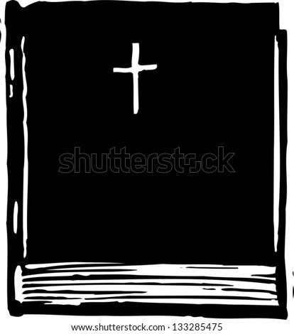 Black and white vector illustration of a Bible - stock vector