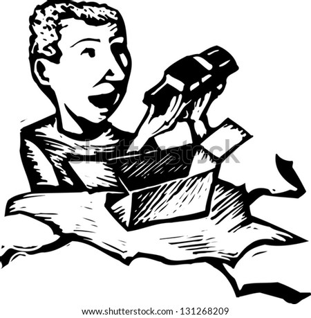Black and white vector illustration of a boy unwrapping a present