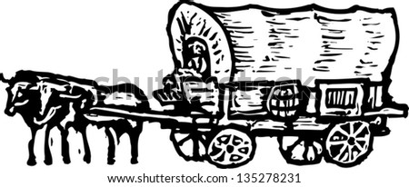 black and white covered wagon. black and white vector illustration of a conestoga wagon covered