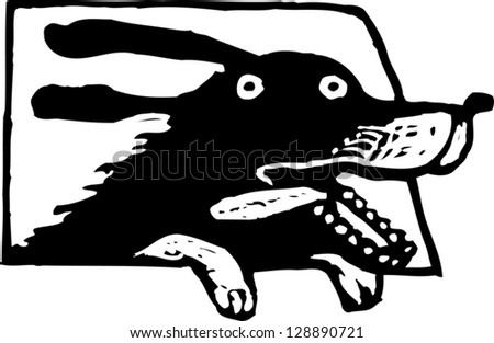 Black and white vector illustration of a dog in a car - stock vector