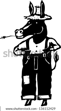 Black and white vector illustration of a donkey as a farmer