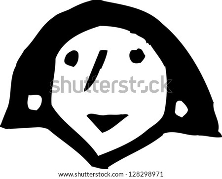 Black and white vector illustration of  a female head