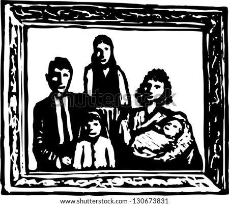 Black And White Vector Illustration Of A Framed Family Portrait