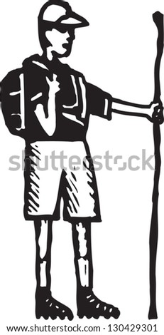 Black and white vector illustration of a hiker