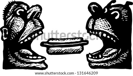 Black and white vector illustration of a hungry African American man and his dog - stock vector