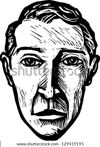 Black and white vector illustration of a man - stock vector