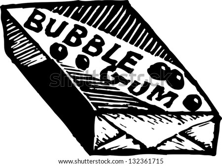 Black and white vector illustration of a package of bubble gum