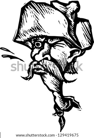 Black and white vector illustration of a senior cowboy spitting tobacco
