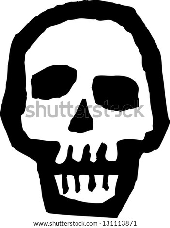 Black and white vector illustration of a skull