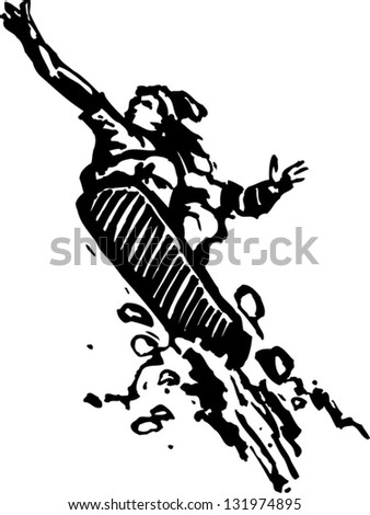Black and white vector illustration of a snowboarder