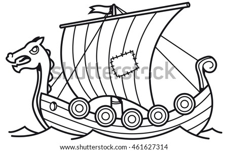 Black and white vector illustration of a viking sailing boat