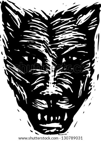 Black and white vector illustration of a werewolf
