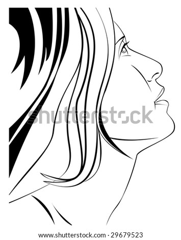 Black and white vector illustration of a woman's face in profile