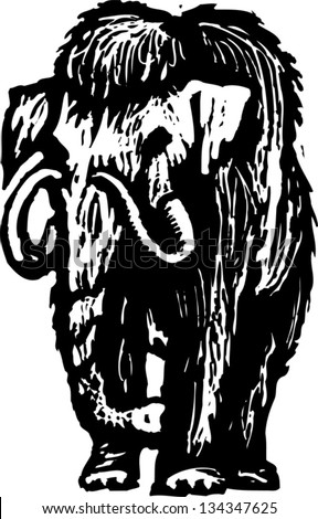 Black and white vector illustration of a woolly mammoth - stock vector