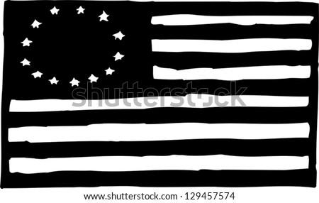 Black White Vector Illustration American Betsy Stock