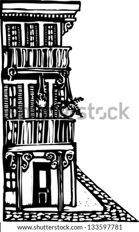 Black and white vector illustration of an urban building - stock vector