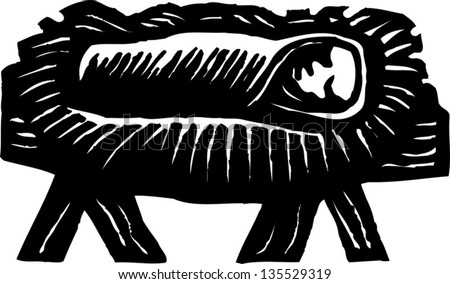 Black and white vector illustration of Baby Jesus Christ in the Manger