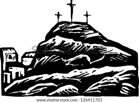 Black and white vector illustration of Calvary - stock vector