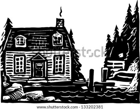 Black and white vector illustration of cape cottage - stock vector