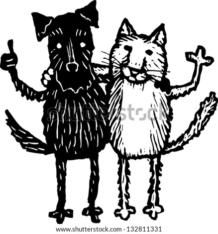 Black and white vector illustration of cat and dog friends - stock vector