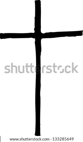 Black and white vector illustration of Christian cross - stock vector