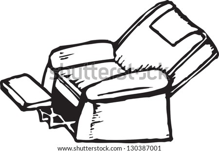 Black and white vector illustration of comfortable chair