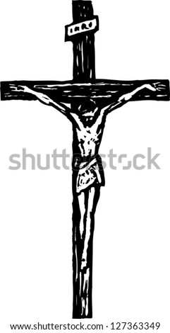 Black and white vector illustration of crucifix - stock vector