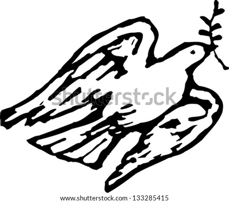 Black and white vector illustration of dove of peace - stock vector